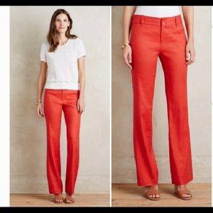 Anthropologie Red Benton Linen Trousers Pants